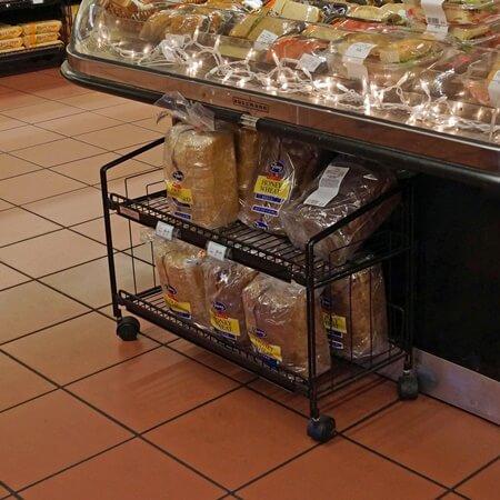 single knee knocker display metal rack mobile display cart