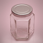 Small Hexagon Glass Jars With Lids - 12ct