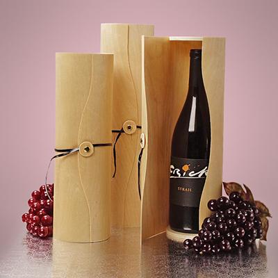 Small Cylinder Wood Wine Box Wine Box Natural Wood