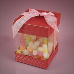 Small Pink Coral Box With Cap & Bow - 48ct