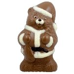 Small Solid Milk Chocolate Santa Bear - 9ct