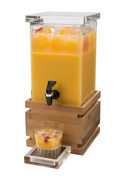 Square Beverage Dispenser Bamboo Base Hotel Supplies