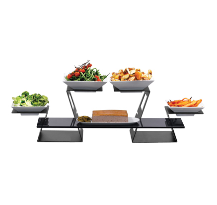 7 Piece Black Swan Riser Starter Set Buffet Display Kits