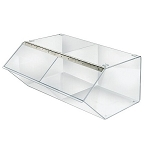 2 Compartment Acrylic Stacking Bin w/Metal Hinged Lift-Open Lid