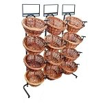 4 Tier 12 Round Willow Basket Display Rack