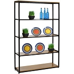 Black Wall Display with 5 Wood Shelves