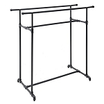 Steel Pipe Double Hang Rail Clothing Rack