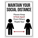 Maintain Social Distance Poster Sign - 22 X 28