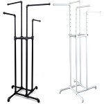 4-Way Metal Pipe Clothing Rack - Color Choice