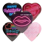Neon Assorted Chocolate Heart Boxes