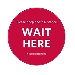 Vinyl Wait Here Social Distance Circle Floor Sticker