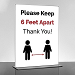 Keep Social Distancing Sign With Acrylic Holder