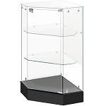 Frameless Corner Showcase With Locking Front