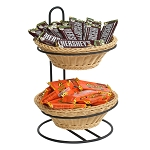 2-Tier Round Plastic Wicker Basket Table Display