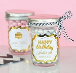 Glass Birthday Jars w/Metallic Foil - 24ct