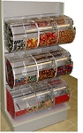 White Slatwall Candy Rack - 6 Round Face Bins - 3 Split Bins