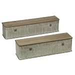 Wood and Metal Wall Shelves - Set of 2