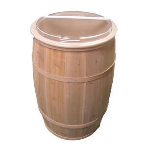 "Cedar Barrel with Food Safe Liner 17"" x 30"""