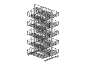 2 Sided Gridwall with 10 Baskets