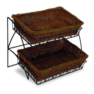 2-Tier Willow Basket Tray Display