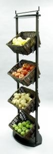 Rectangular Willow Display Adjustable Baskets - 4 Tier