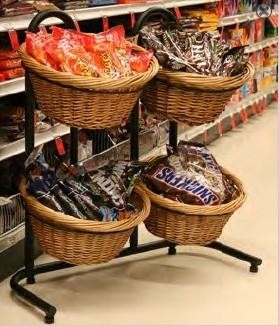 4 Basket Wicker Display With Sign Holders