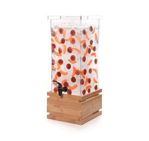 4 Gal Square Beverage Dispenser - Bamboo Base