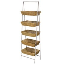 5 Tier Wicker Basket Stand