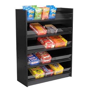 Black 5 Shelf Wood Candy Display Black Candy Rack Display