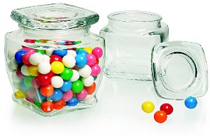 17 oz Square Glass Jars With Covers - 12ct