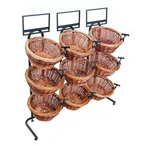 Two Toned 9 Basket Wicker Display