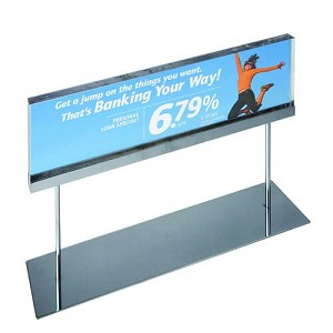 "Acrylic Sign Holder On Chrome Stand - 22""W X 6""H"