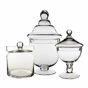 Classic Glass Apothecary Candy Jars - Set of 3