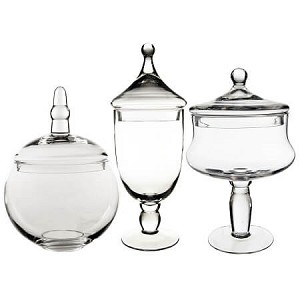 Classic Glass Candy Buffet Jars - Set of 3