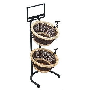 Two Toned 2 Basket Wicker Display