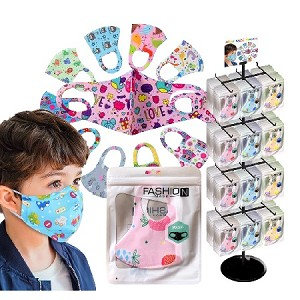 Kids Reusable Color Face Mask 288 Packs and Display Rack