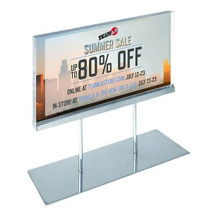 "Acrylic Sign Holder On Chrome Stand - 17""W X 11""H"