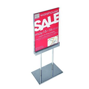 "Acrylic Sign Holder On Chrome Stand - 8.5""W X 11""H"