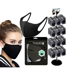 Reusable Black Face Mask 288 Packs and Display Rack
