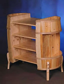 Barrel Display with Shelves-Space Saver