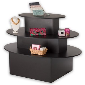 Black 3 Tiered Oval Display Table