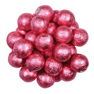Bright Pink Foil Chocolate Balls - 10lbs