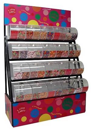 Divided Bins Candy Rack With Top 40 Candy