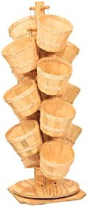 Countertop Wood Basket Tree - (14) eighth peck baskets