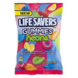 Lifesavers Neon Gummies Peg Bags - 12ct