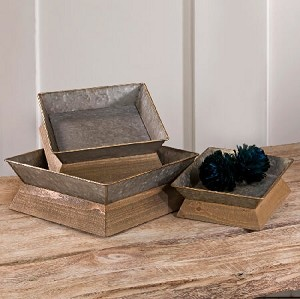Metal Trays With Wooden Base - Set of 3