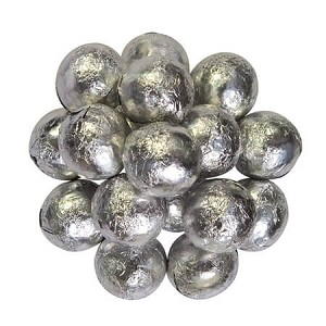 Milk Chocolate Silver Foiled Marbles - 10lbs