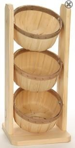Shallow 1/2 Peck 3 Basket Counter Rack - Color Choice