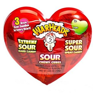Warheads Sour Candy Plastic Hearts - 8ct