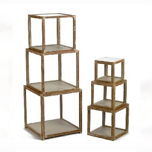 Wood Distressed Cube Risers - Set of 6